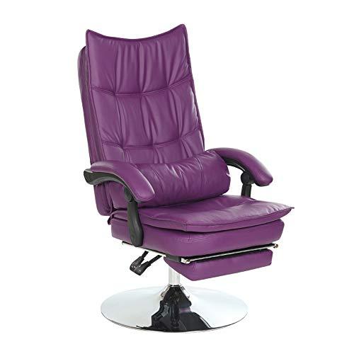 ZZHF Drehstuhl, Tellerfuss Liegender PU-Bilayer-Sitzkissen Computer-Stuhl, der Fußstütze-Mittagspause-Bürostuhl - mit Taillenunterstützung, 9 Farben anhebt (Farbe : Lila)