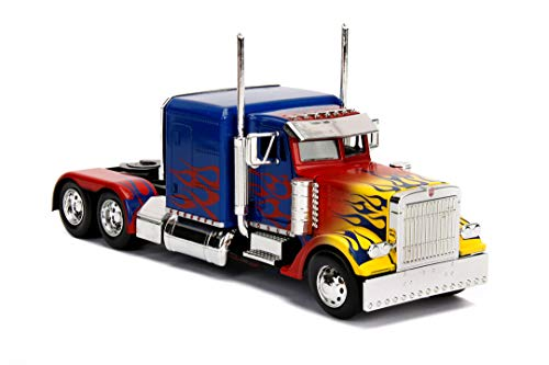 Jada Toys Transformers T1 Optimus Prime, Spielzeugauto aus Die-cast, Auto, Maßstab 1:24, blau/rot