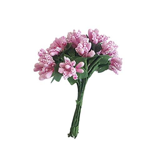 Amosfun Fiori per bomboniere Bacca Decorazioni Matrimonio Scatola Fiore Fai da Te 12 Pezzi (Rosa)
