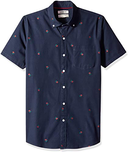 Goodthreads Men's Slim-Fit Short-Sleeve Dobby Shirt, -navy rose, Large Michigan