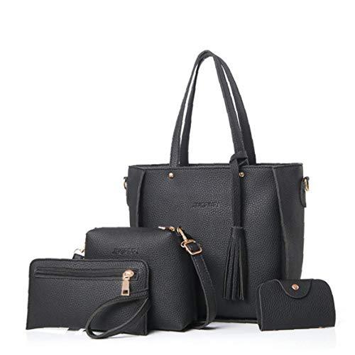 4 in 1 Donne Morbido Pu Bag Set Maniglia Di Cuoio Borse Set Tote Bag Borse a Spalla Carte Crossbody Bag Portafoglio Holder Perfect (nero) Utilità Strumento Pratico