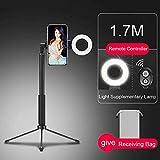 YWSZY Trépied Selfie Stick Bluetooth De 170 Cm avec Éclairage De Sonnerie pour Iphone Smartphone Youtube Video@1.7M_Black_Control