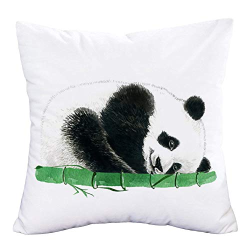 Asamour Cute Panda Pillow Cover Room Decor Pillows Adorable Baby Panda Holding Bamboo Decorative Throw Pillow Case Cushion Cover 18x18 Inch Square Animal Super Soft Pillowslip for Kids Baby's Room