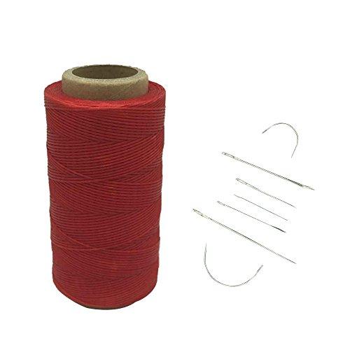 Yulakes - Filo cerato, 1 mm, 260metri, per uso con aghi da cuoio nel cucito e nella lavorazione del cuoio, con 7 aghi per cuoio Red