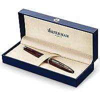 Waterman Carène Marine Amber  - Pluma estilográfica, color marrón y negro brillante con clip de oro de 23quilates, plumín mediano con cartucho de tinta azul, estuche de regalo
