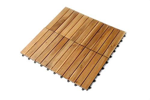 SAM Terrassenfliese 01 Akazien-Holz, Einzelfliese, Bodenbelag mit Drainage Unterkonstruktion, klick-Fliese, Garten, Balkon