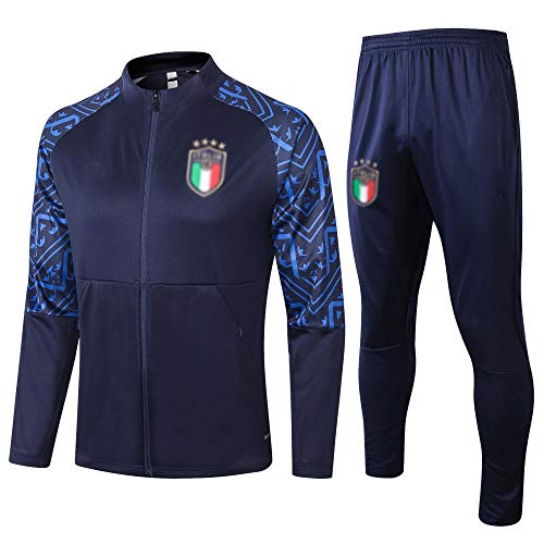 Caijj, tuta da calcio da uomo, perfetta come regalo, giacca a vento a maniche lunghe, per allenamento di calcio, abbigliamento sportivo, tuta da calcio, felpa con cappuccio da uomo, delicata 75-blu_M.