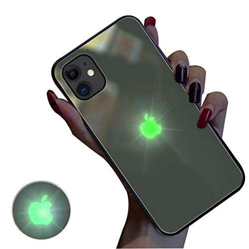 Glowing Case for iPhone 11,iPhone 11 pro Cases Led Logo Light iPhone Case Light Up Logo Case Illuminate Cover Tempered Glass Back Cover Protective Case iPhone X,B,iphone11proMAX