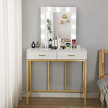 Vanity Table with Lighted Mirror Makeup Vanity Dressing Table with 9 LED Lights and 2 Large Drawers Removable Mirror Dresser Desk Vanity Set for Women Girls Bedroom Bathroom Table  White