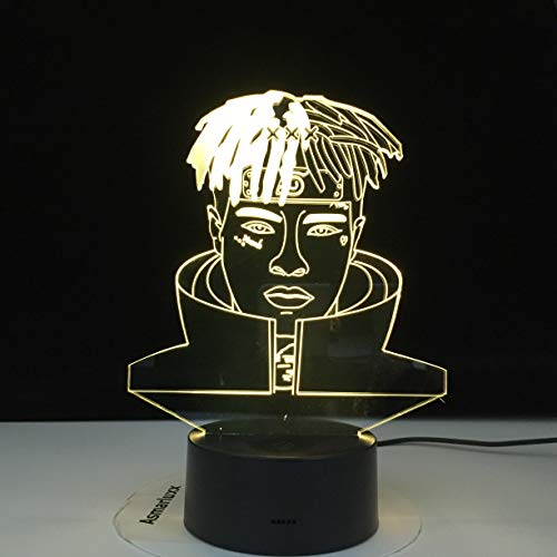 Rapper Singer XXX Tentacion Figurine Souvenir Music Fan 3D LED Night Light Table Lamp Bedside Decoration Kids Gift