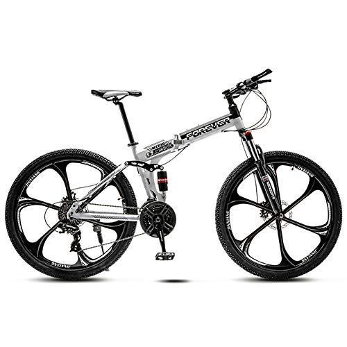 Biciclette Mountain Bike 26 Pollici Adulti Bambini Bicicletta Biammortizzata, Freno a Disco Idraulico, Pieghevole Bicicletta da Montagna,White 6 Spokes,30 Speed