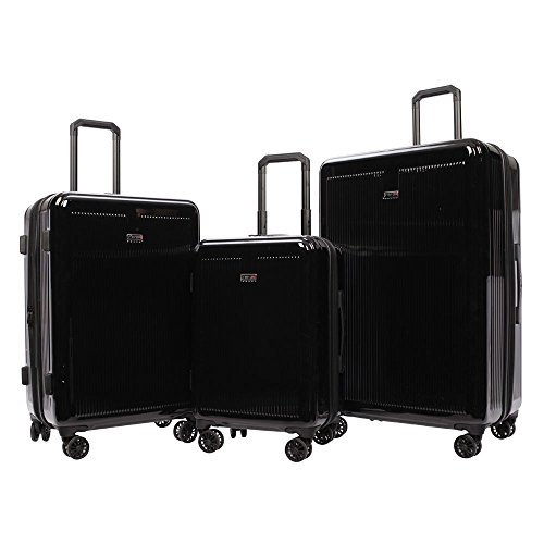 Revo Luna Hardside 3 Piece Luggage Set Made in the USA Black