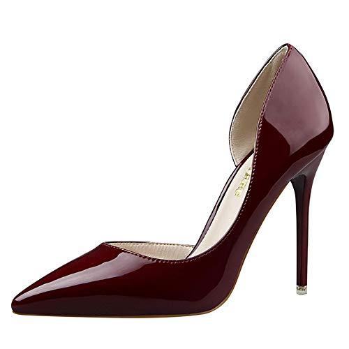 Mujer Zapatos de Tacón Simple Tacón Fino Charol Zapatos Individuales Alto Conde Aguja de Boda para Mujer, con Punta en Punta, de Tacón Alto 10.5CM