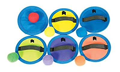 "Sportime Hook N Loop CatchPad and Ball, Assorted Colors, 7"" Dia. (Set of 6) - 1449586"