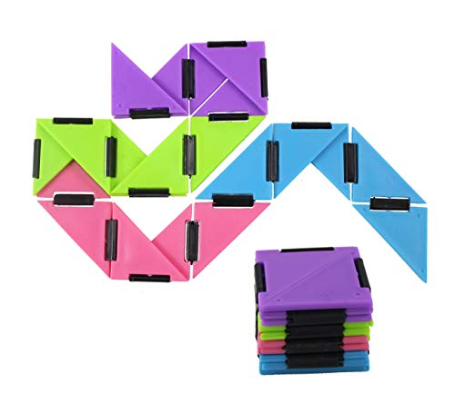 SET OF 2 Infinity Triangle - Magic Endless Folding Fidget Toy - Flip Over and Over - Bend and Fold Crazy Shapes Puzzle - ADD Anxiety Soothing Calm Anxiety Toy for Classroom or Office Focus