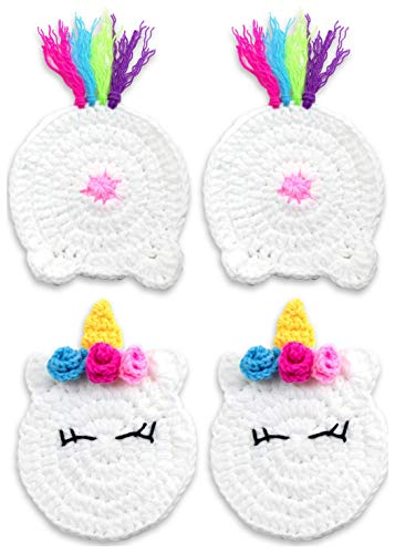 Buttsters UNICORN BUTT Crochet Drink Coaster Set Funny Unicorn Gifts for Adults,...