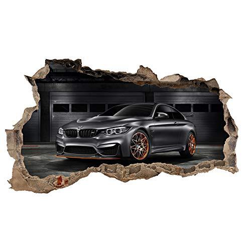 3D Wandtattoo Mauerloch Wandsticker Wandaufkleber Durchbruch Automobile selbstklebend H 60 x B 100 Schlafzimmer Wohnzimmer (WL24)