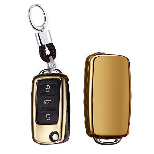 ontto Keycase Premium zachte TPU volledige bescherming Smart Key Fob Shell Case sleutelringen sleutelhangers voor VW Volkswagen Jetta GTI Passat Golf Tiguan Touareg Kever 3button Goud