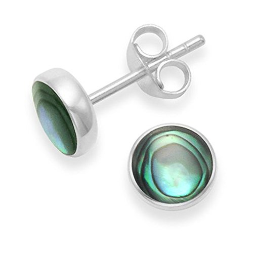 Sterling Silver Paua Shell Earrings - 7mm round Paua Shell stud Earrings with flat solid silver back. Gift boxed 5798PS
