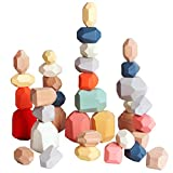 36 PCs Wooden Sorting Stacking Balancing Stone Rocks Educational Preschool Learning Toys Large Small Building Blocks Game Stones Lightweight Puzzle Set for Kids 3 Years Old…