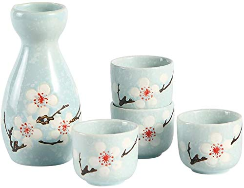 Sunjiaxingzd Japanisches Sake-Set, 5 Stück Sake Cup Set, Malerisches Textur Elegante Blumen-Entwurf, for Kalt/Warm/Shochu/Tee for Familie und Freunde Traditioneller Sake Set Sake-Geschenk-Set