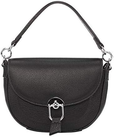 ELBORN PYO Women Leather Shoulder Saddle Bags Purse Top Handle Satchel Crossbody Bag Black product image