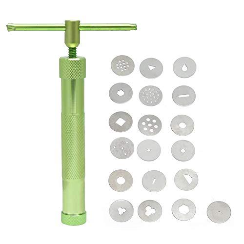 Acero Inoxidable Exprimidor Giratorio Verde Pistola de Barro DIY Polímero Arcilla Hornear Fondant Extrusora de Pastel Escultura Herramientas(Verde)