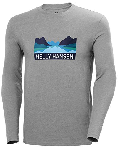 Helly Hansen Nord Graphic Longsleeve T-Shirt à Manches Longues Homme FR: M (Taille Fabricant: M) Gris Mélange