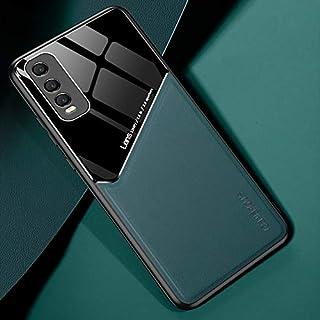 電話ケース 金属製の鉄板とin vivo y70sの +有機ガラスの携帯電話ケース スマートフォン裏表紙 (Color : Dark Green)