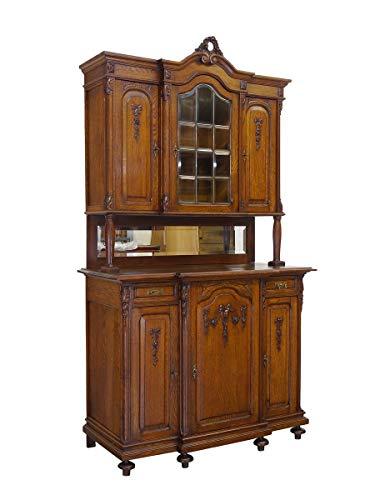 Antiker Buffetschrank Historismus um 1900 aus Eiche   Bücherschrank Küchenschrank Aufsatzschrank  6-türig Bleiverglasung   B: 137 cm (10057)