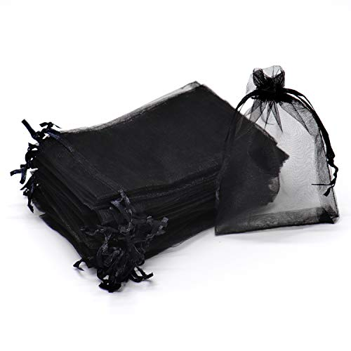 Dealglad 50pcs Drawstring Organza Jewelry Candy Pouch Christmas Wedding Party Favor Gift Bags (3x4, Black)