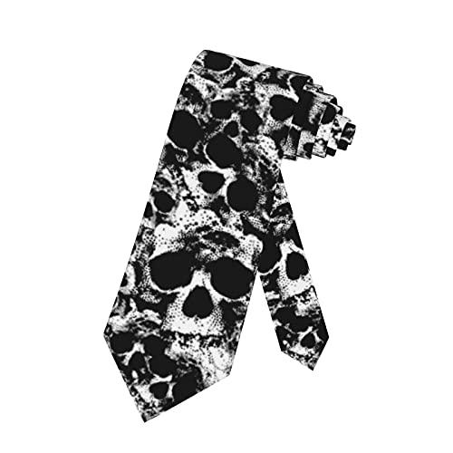 SARA NELL Skull Mens Tie Skull Pattern Black And White Necktie,Fun Print Woven Slim Neck Ties for Men