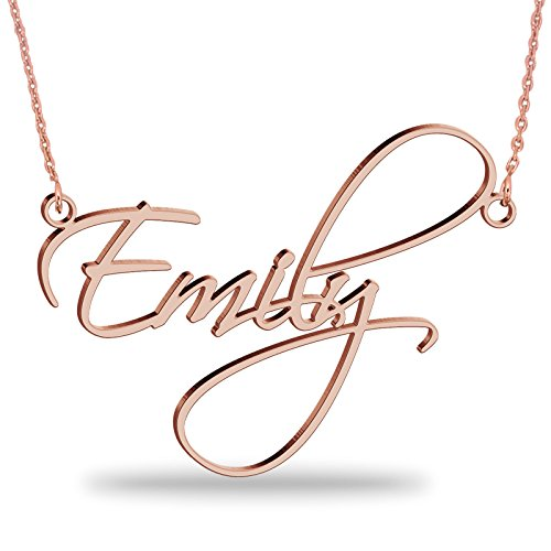 JOELLE JEWELRY 18K Rose Gold Plated Silver Personalized Name Necklace with Pendant - Custom Made Jewellery