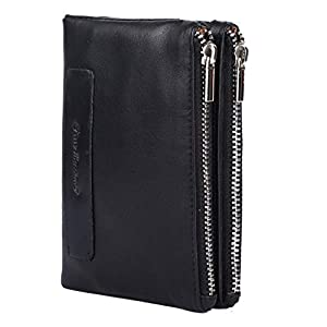 PICCO MASSIMO Premium Leather Made RFID Protected Women's Wallet (Black, 13X 9 cm)