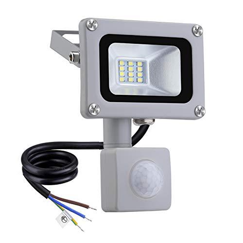 LED Projecteur Détecteur de Mouvements 10W 800lm Floodlight Lumières de paysage 6500K Blanc froid Projecteur Extérieur Imperméable IP65 Spotlight pour pour Jardin Terrasse Garage Cour Usine