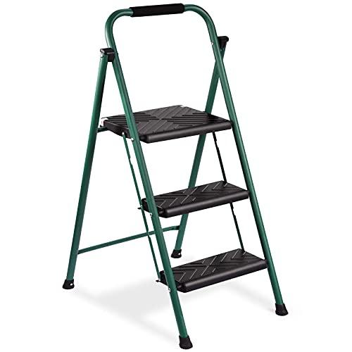 HOUSE DAY Escalera plegable de 3 peldaños, plegable, escalera doméstica, con certificación TÜV, hasta 150 kg, color verde