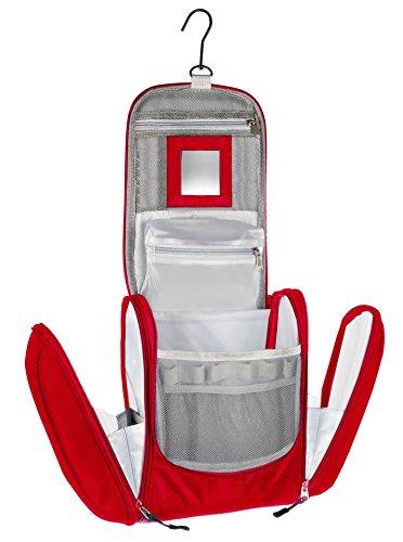 Große Premium Kulturtasche zum Aufhängen mit Spiegel, sehr geräumiger Kulturbeutel als Geschenk oder perfekt für den Urlaub (Red)