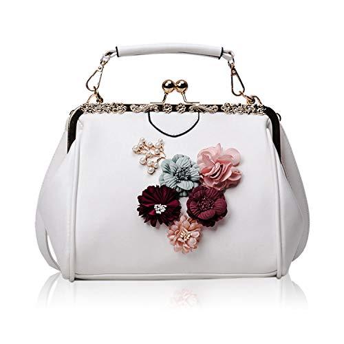 EVEOUT Blumenperlenweinlesespitzen-Grifftasche der Frauen,Retro Handtasche Einkaufs Tasche kisslock Hochzeits Kupplungs Geldbeutel für Braut, Umhänge Tasche aus Veganem Leder Umhänge Tasche für Damen