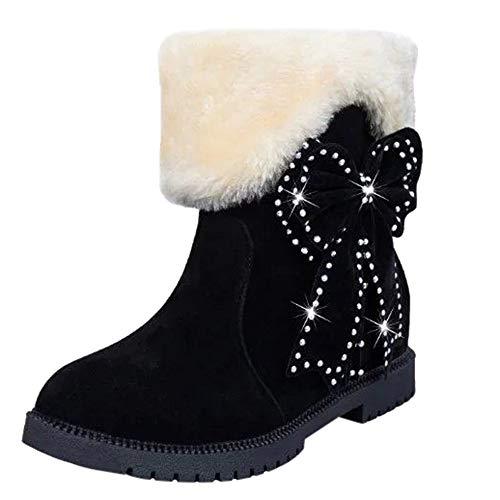 MYMYG Schneestiefel Frauen Stiefeletten Wildleder Bogen Perlen Runde Zehe Wedges Schuhe halten warme...