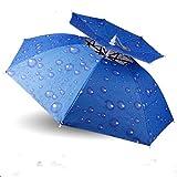 RPMDM Kopfmontierte Schirmmütze Outdoor Doppel Sonnenschutz Schirmmütze Winddicht UV Taschenschirm Angeln Sonnenhut/Durchmesser 80cm Regenschirm