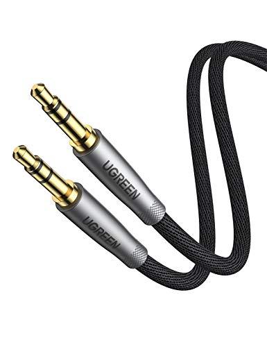 UGREEN 1m Aux Kabel Klinkenkabel 3,5 mm Audio Kabel Nylon kompatibel mit Galaxy S10/S10+/S9, iPhone 6S/6/6/5S, Auto, Kopfhörer, Hi-Fi System, Lautsprecher, Speaker, Soundbar, TV usw.