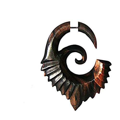 CHICNET Piercing falso con gancho Lobe Dehner, para hombre y mujer, espiral de dilatación orgánica, de madera, marrón con cierre de acero inoxidable, alas en espiral.