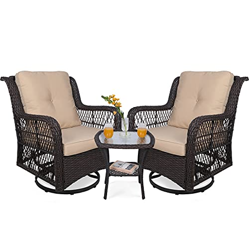 VIVIJASON 3-Piece Patio Wicker Conversation Bistro Set Cushioned, Outdoor Glider Swivel Rocking Chairs Rattan Furniture Sets with Thickened Cushion and Glass-Top Coffee Table, Beige Cushion
