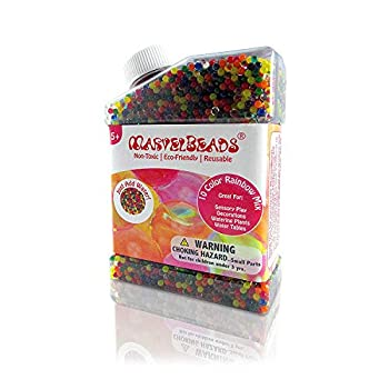 MarvelBeads 50,000 Water Beads [Non-Toxic] Fully Certified Rainbow Mix for Kids Sensory Play and Spa Refill BPA & Phthalate Free  Over Half Pound