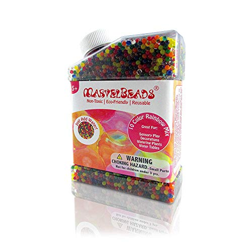 MarvelBeads 50,000 Water Beads [Non-Toxic] Fully Certified, Rainbow Mix for Kids Sensory Play and Spa Refill BPA & Phthalate Free (Over Half Pound)