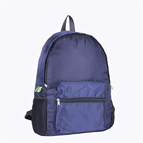A-hyt Cómoda y práctica mochila de viaje de nailon impermeable exterior bolsa de montañismo, mochila plegable de enrejado de diamante, fácil caminata (color: azul marino, tamaño: A)