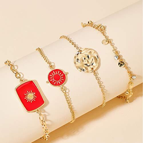 YIKOUQI 4 unids/Set Pulseras de Borla de Aceite de Goteo Rojo Bohemio para Mujer, Cadena de Metal de aleación de Color Dorado, Regalo de joyería