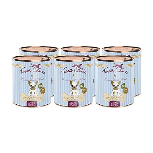 Terra Canis Welpen Nassfutter I Reichhaltig, Premium Hundefutter in echter Lebensmittelqualität der Rohstoffe mit Lamm, Zucchini & Magerjoghurt I 6 x 800g, allergenarm, getreidefrei & glutenfrei