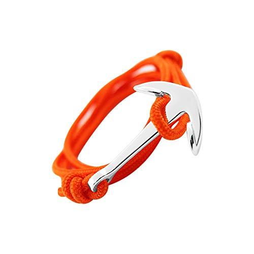 GLANZWEAR Enveloppez Bracelet avec Ancre de Bateau en Argent Rope Silver Edition, Bande Nautique d ancrage pour Les Hommes et Les Femmes, Bracelet Unisexe de Couleurs Mode Tendance Orange