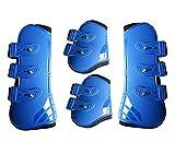 FADDARE - Botas de tendon, juego de 4, botas de caballo de piel sintética, botas de caballo para equitación, correr, protección de la competencia, azul, medium